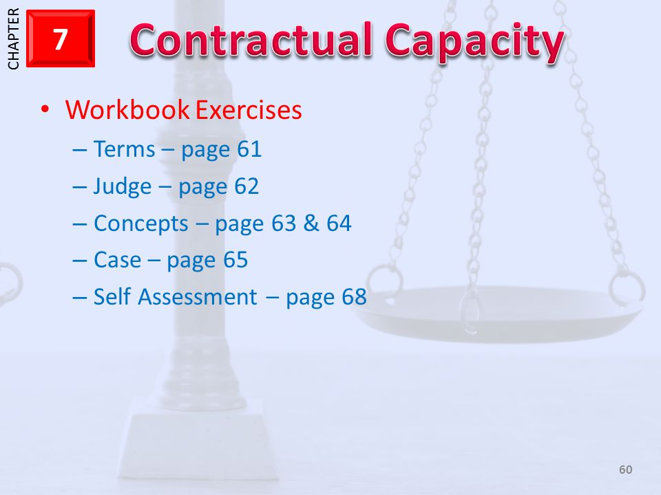 1 CHAPTER 7 60 Workbook Exercises – Terms – page 61 – Judge – page 62 – Concepts – page 63 & 64 – Case – page 65 – Self Assessment – page 68