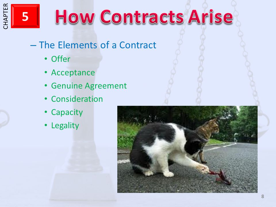 1 CHAPTER 5 8 – The Elements of a Contract Offer Acceptance Genuine Agreement Consideration Capacity Legality