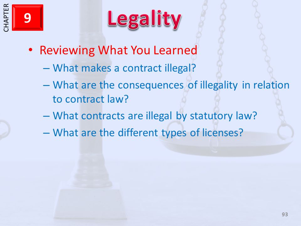 1 CHAPTER 9 93 Reviewing What You Learned – What makes a contract illegal? – What are the consequences of illegality in relation to contract law? – Wh