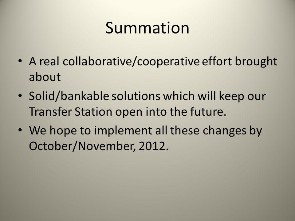 Summation A real collaborative/cooperative effort brought about Solid/bankable solutions which will keep our Transfer Station open into the future.