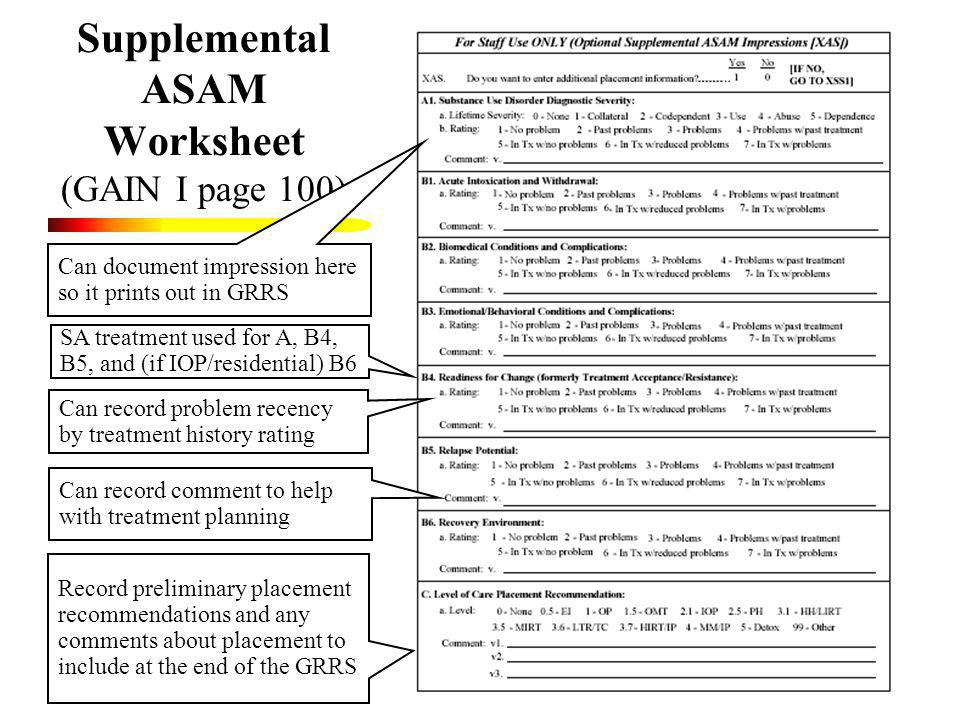 Printables Co-occurring Disorders Worksheets gain scoring and clinical interpretation using the for supplemental asam worksheet i page 100 can document impression here so it prints