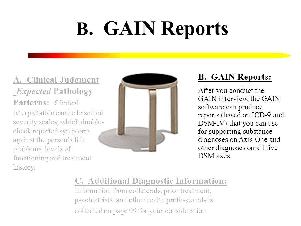A. Clinical Judgment -Expected Pathology Patterns: Clinical interpretation can be based on severity scales, which double- check reported symptoms agai