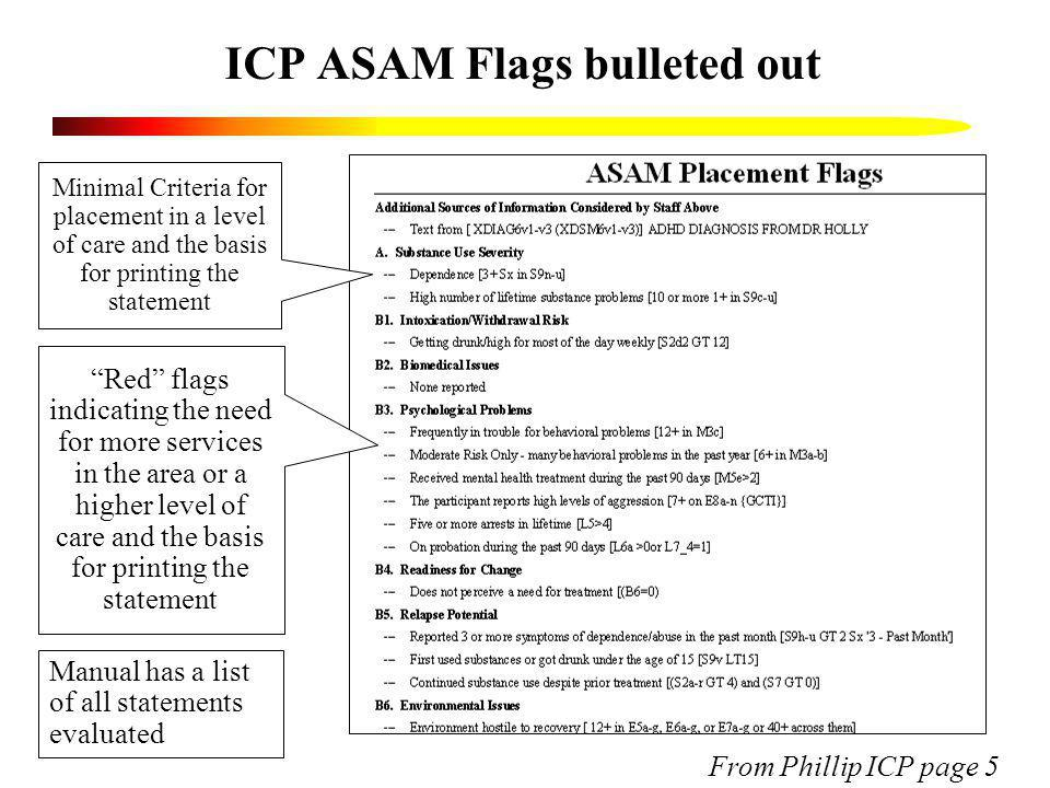 ICP ASAM Flags bulleted out Minimal Criteria for placement in a level of care and the basis for printing the statement From Phillip ICP page 5 Red fla