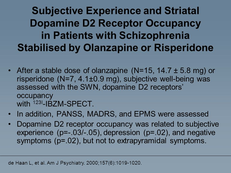 Subjective Experience and Striatal Dopamine D2 Receptor Occupancy in Patients with Schizophrenia Stabilised by Olanzapine or Risperidone After a stabl