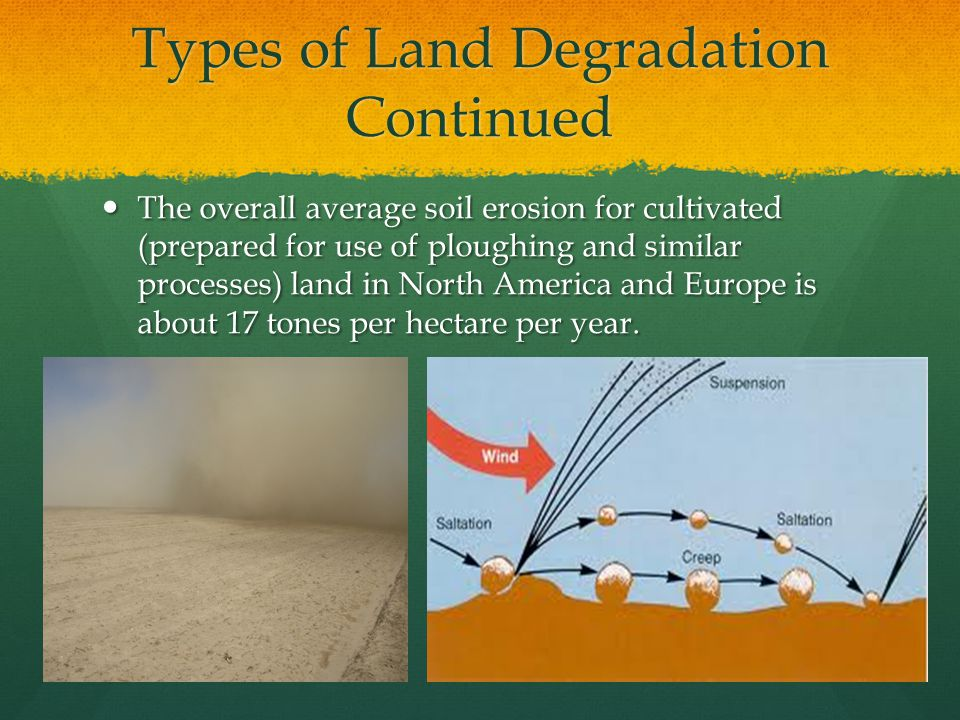 Causes of Land Degradation Continued Overuse of natural vegetation: If the population density of an area becomes too high, overuse of vegetation can have an impact similar to overgrazing and deforestation.