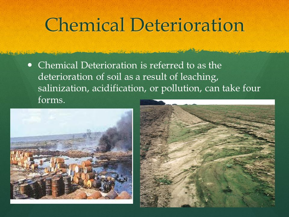 Chemical Deterioration Continued The first and most important of these is loss of soil nutrients.
