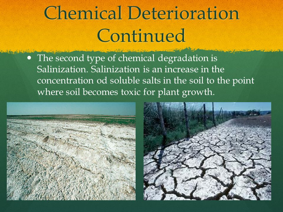 Chemical Deterioration Continued Two other forms of Chemical Deterioration are less common.