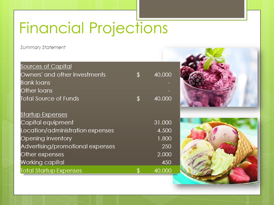 Financial Projections Summary Statement