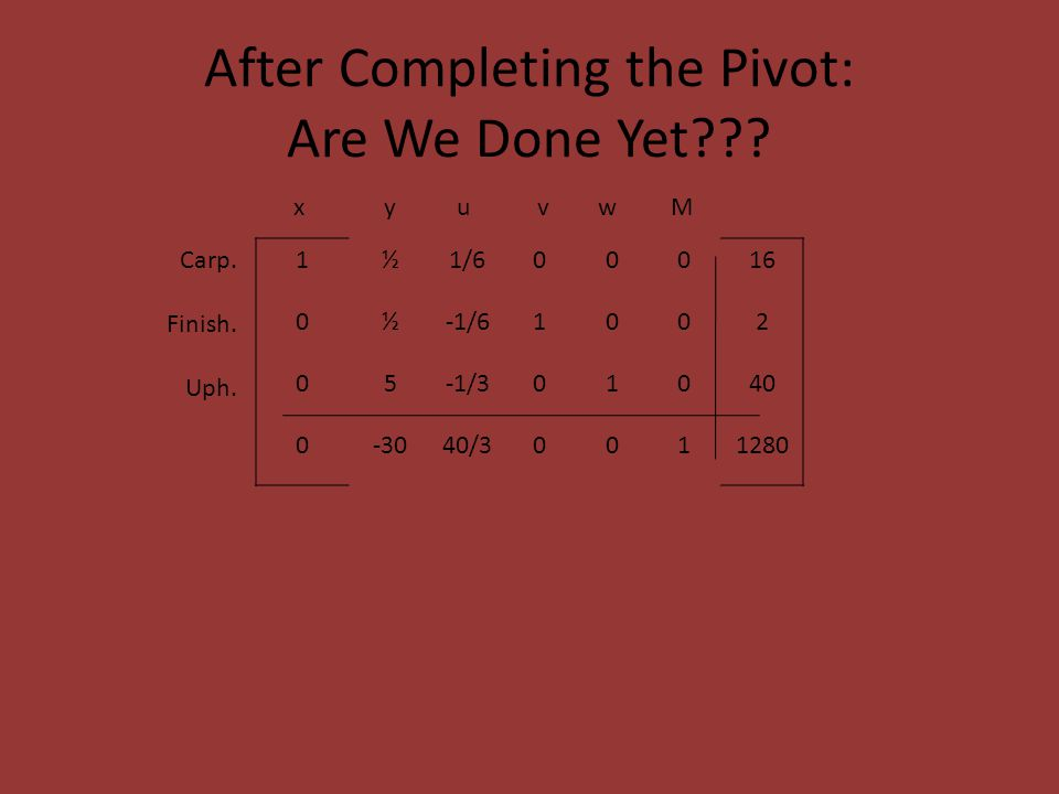 After Completing the Pivot: Are We Done Yet .