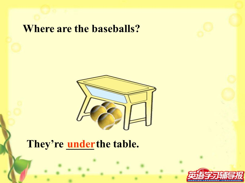 Where are the baseballs? Theyre _____ the table.under