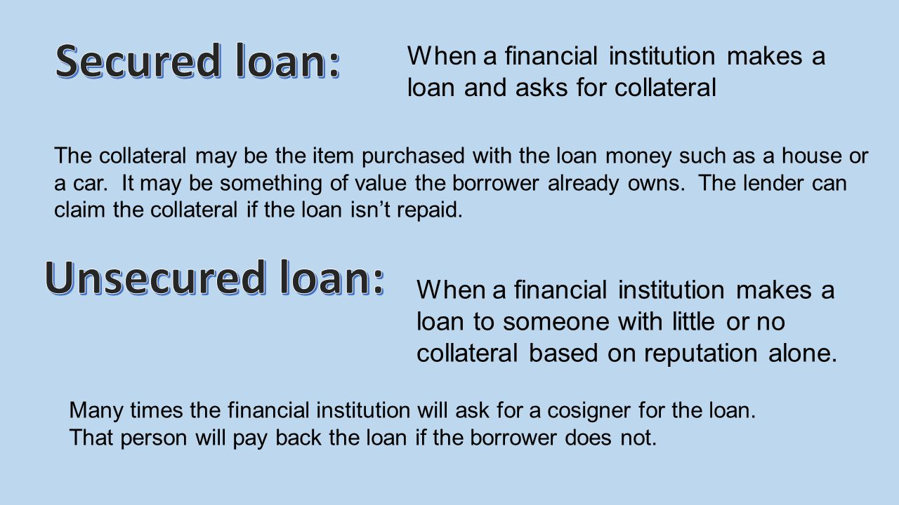When a financial institution makes a loan and asks for collateral The collateral may be the item purchased with the loan money such as a house or a ca
