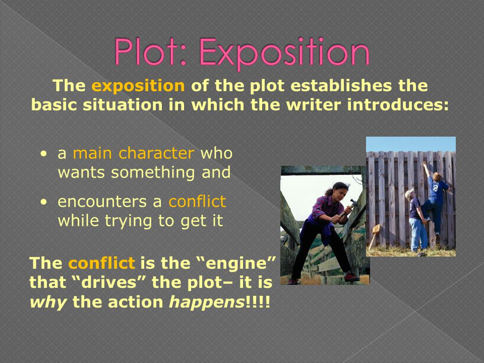a main character who wants something and The exposition of the plot establishes the basic situation in which the writer introduces: encounters a conflict while trying to get it The conflict is the engine that drives the plot– it is why the action happens!!!!