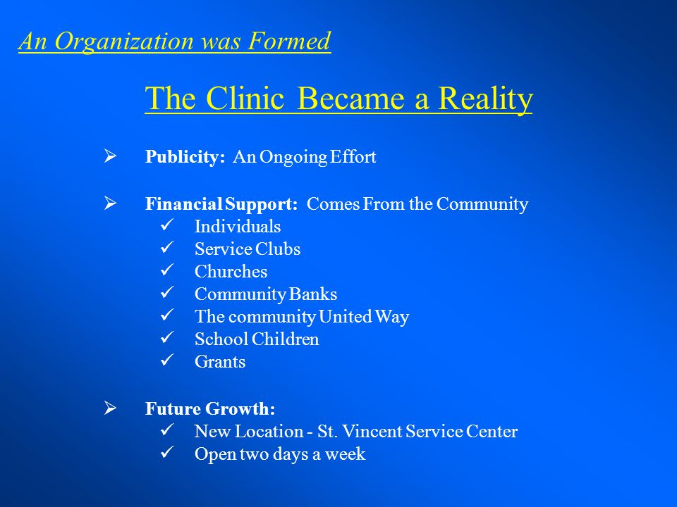The Clinic Became a Reality Publicity: An Ongoing Effort Financial Support: Comes From the Community Individuals Service Clubs Churches Community Bank