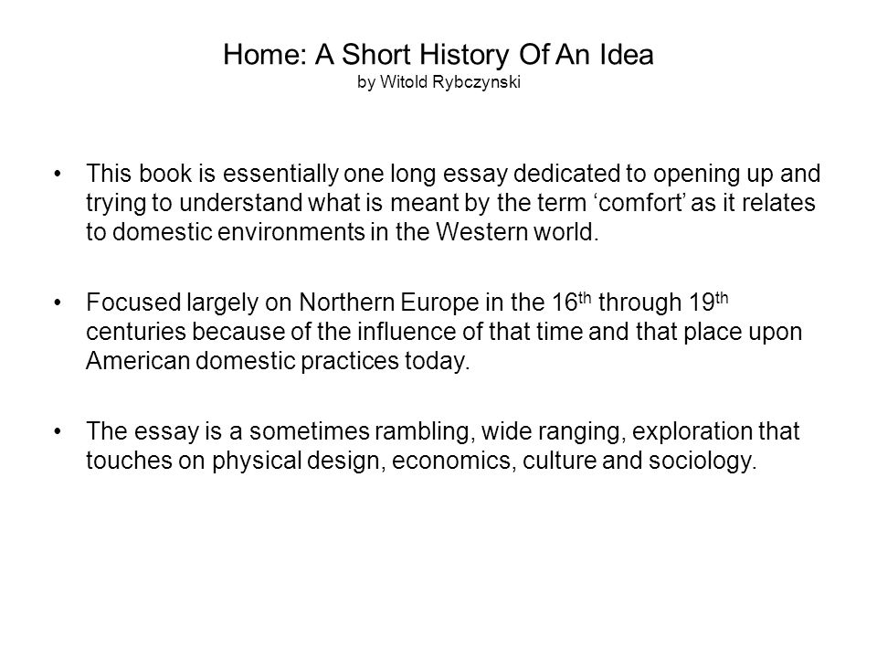 Home: A Short History Of An Idea by Witold Rybczynski Chapter 10, pagers 216 - 232 This chapter opens with a reproduction of a Norman Rockwell painting titled Willie Gillis in College, 1946.