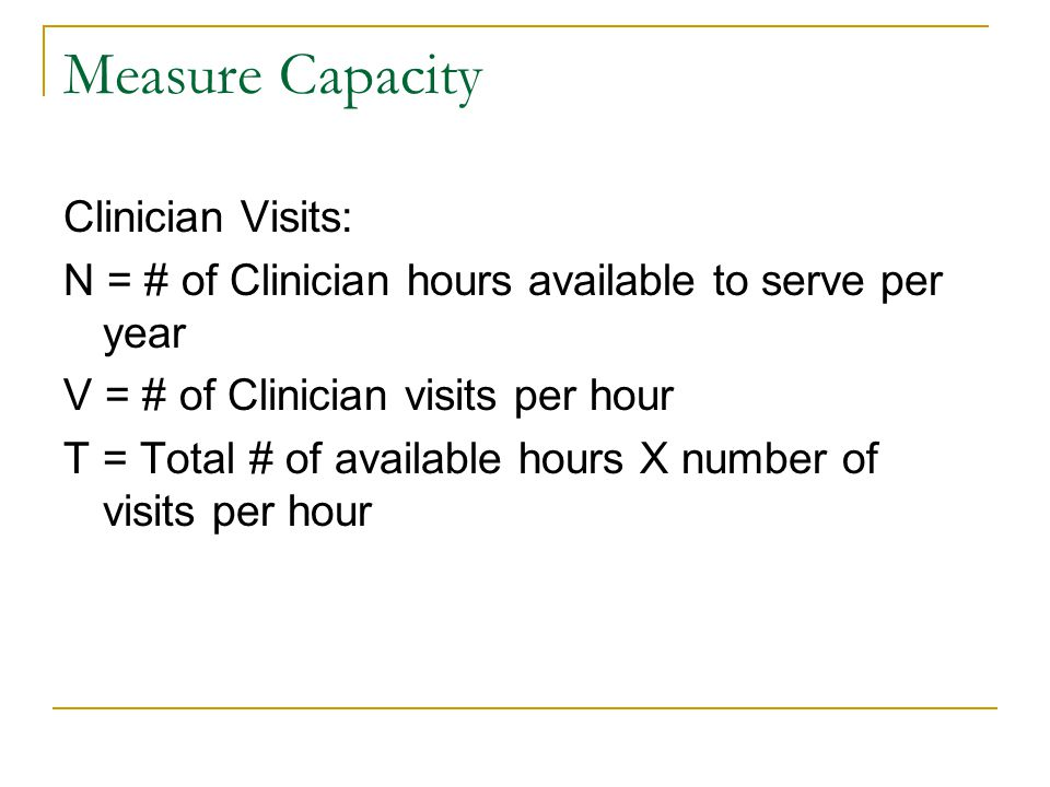 Measure Capacity Clinician Visits: N = # of Clinician hours available to serve per year V = # of Clinician visits per hour T = Total # of available ho