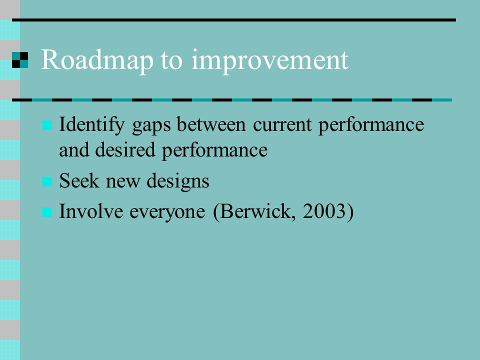 Roadmap to improvement Identify gaps between current performance and desired performance Seek new designs Involve everyone (Berwick, 2003)