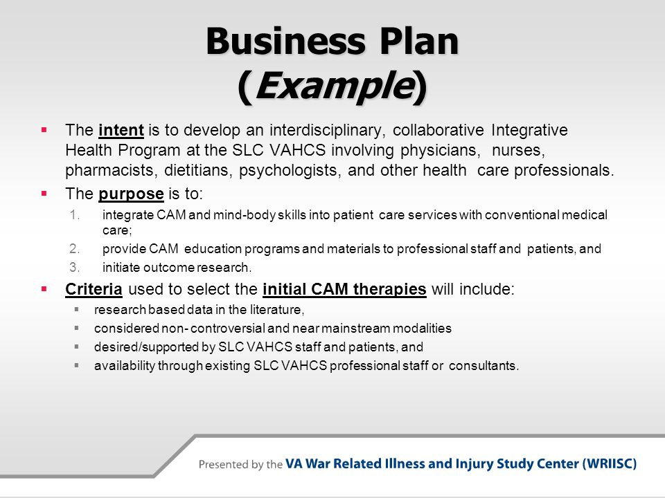 Business Plan (Example) The intent is to develop an interdisciplinary, collaborative Integrative Health Program at the SLC VAHCS involving physicians,