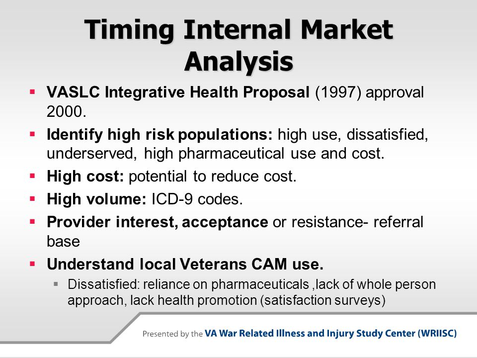 Timing Internal Market Analysis VASLC Integrative Health Proposal (1997) approval 2000. Identify high risk populations: high use, dissatisfied, unders