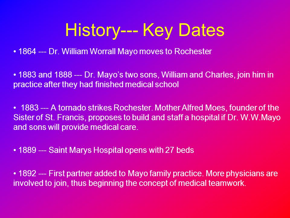 History--- Key Dates 1864 --- Dr. William Worrall Mayo moves to Rochester 1883 and 1888 --- Dr. Mayos two sons, William and Charles, join him in pract