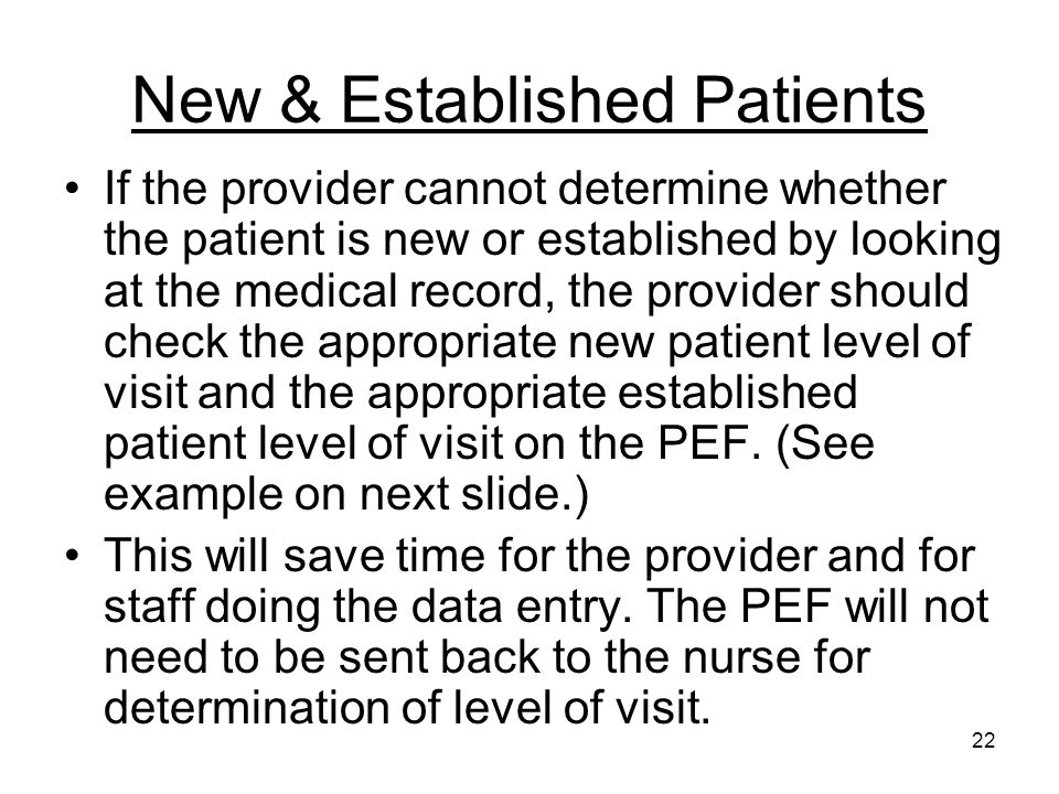 22 New & Established Patients If the provider cannot determine whether the patient is new or established by looking at the medical record, the provide