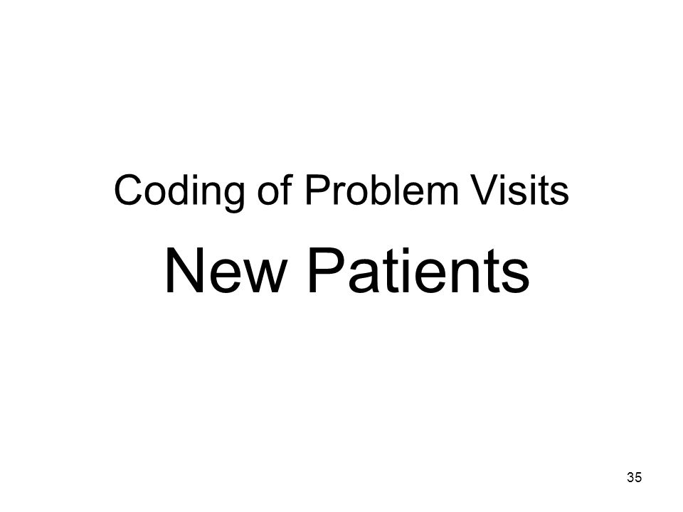 35 Coding of Problem Visits New Patients