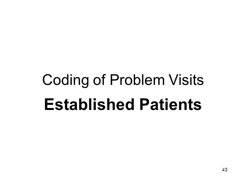 43 Coding of Problem Visits Established Patients