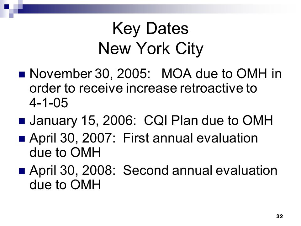 32 Key Dates New York City November 30, 2005: MOA due to OMH in order to receive increase retroactive to 4-1-05 January 15, 2006: CQI Plan due to OMH April 30, 2007: First annual evaluation due to OMH April 30, 2008: Second annual evaluation due to OMH