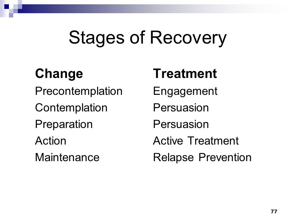 77 Stages of Recovery Change Precontemplation Contemplation Preparation Action Maintenance Treatment Engagement Persuasion Active Treatment Relapse Prevention