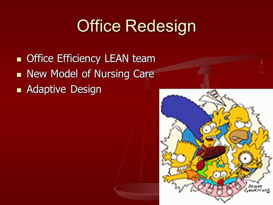 Office Redesign Office Efficiency LEAN team Office Efficiency LEAN team New Model of Nursing Care New Model of Nursing Care Adaptive Design Adaptive Design
