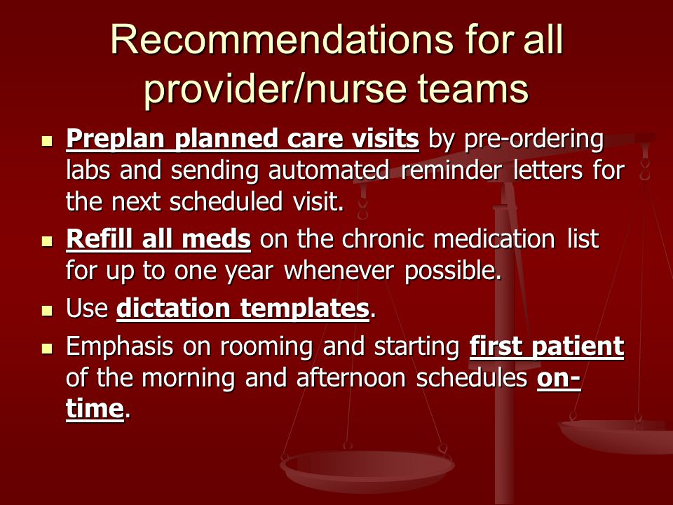 Preplan planned care visits by pre-ordering labs and sending automated reminder letters for the next scheduled visit.
