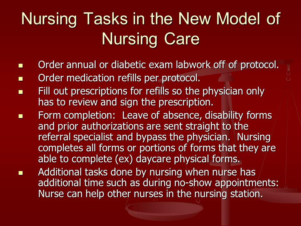 Nursing Tasks in the New Model of Nursing Care Order annual or diabetic exam labwork off of protocol.