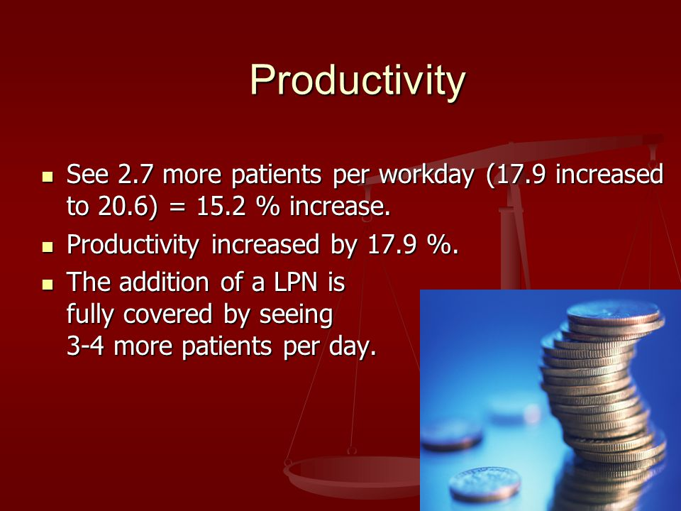 Productivity See 2.7 more patients per workday (17.9 increased to 20.6) = 15.2 % increase. See 2.7 more patients per workday (17.9 increased to 20.6)