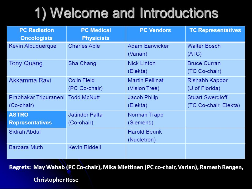 1) Welcome and Introductions PC Radiation Oncologists PC Medical Physicists PC VendorsTC Representatives Kevin Albuquerque Charles Able Adam Earwicker (Varian) Walter Bosch (ATC) Tony Quang Sha Chang Nick Linton (Elekta) Bruce Curran (TC Co-chair) Akkamma Ravi Colin Field (PC Co-chair) Martin Pellinat (Vision Tree) Rishabh Kapoor (U of Florida) Prabhakar Tripuraneni (Co-chair) Todd McNutt Jacob Philip (Elekta) Stuart Swerdloff (TC Co-chair, Elekta) ASTRO Representatives Jatinder Palta (Co-chair) Norman Trapp (Siemens) Sidrah Abdul Harold Beunk (Nucletron) Barbara MuthKevin Riddell Regrets: May Wahab (PC Co-chair), Mika Miettinen (PC co-chair, Varian), Ramesh Rengen, Christopher Rose