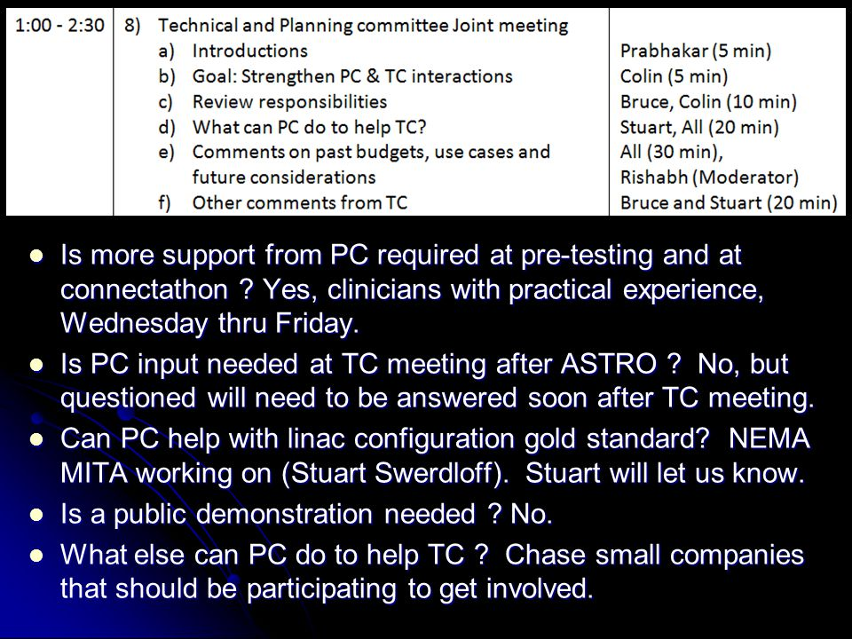 8) Technical and Planning committee Joint meeting Is more support from PC required at pre-testing and at connectathon .
