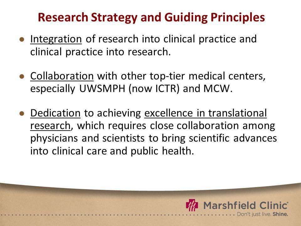 Research Strategy and Guiding Principles Integration of research into clinical practice and clinical practice into research.