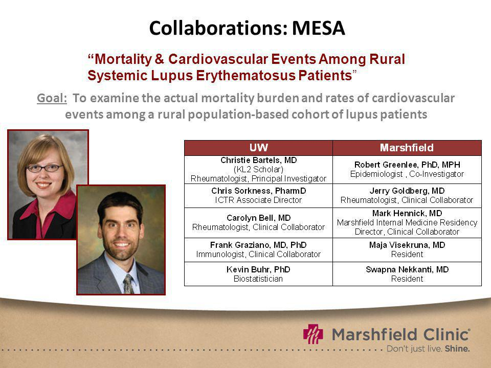 Collaborations: MESA Goal: To examine the actual mortality burden and rates of cardiovascular events among a rural population-based cohort of lupus pa