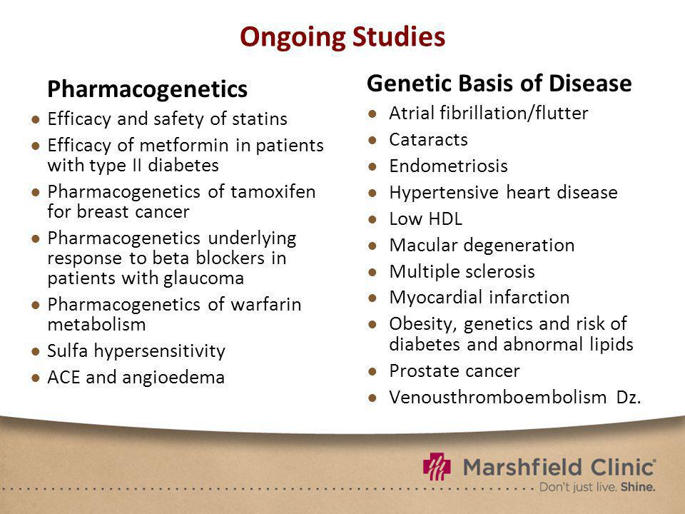 Ongoing Studies Pharmacogenetics Efficacy and safety of statins Efficacy of metformin in patients with type II diabetes Pharmacogenetics of tamoxifen for breast cancer Pharmacogenetics underlying response to beta blockers in patients with glaucoma Pharmacogenetics of warfarin metabolism Sulfa hypersensitivity ACE and angioedema Genetic Basis of Disease Atrial fibrillation/flutter Cataracts Endometriosis Hypertensive heart disease Low HDL Macular degeneration Multiple sclerosis Myocardial infarction Obesity, genetics and risk of diabetes and abnormal lipids Prostate cancer Venousthromboembolism Dz.