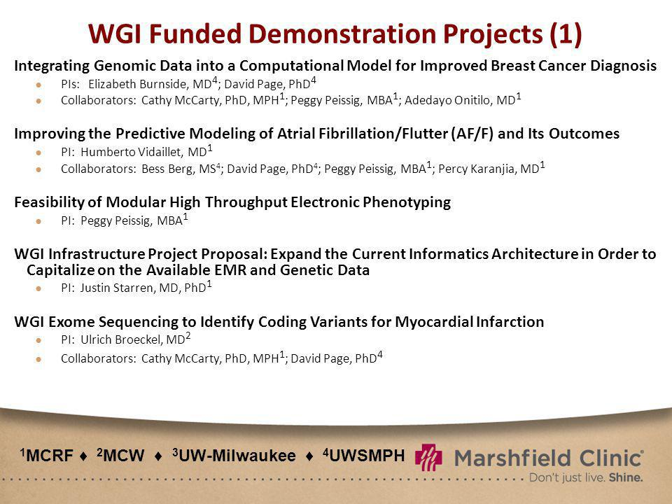 WGI Funded Demonstration Projects (1) Integrating Genomic Data into a Computational Model for Improved Breast Cancer Diagnosis PIs: Elizabeth Burnside, MD 4 ; David Page, PhD 4 Collaborators: Cathy McCarty, PhD, MPH 1 ; Peggy Peissig, MBA 1 ; Adedayo Onitilo, MD 1 Improving the Predictive Modeling of Atrial Fibrillation/Flutter (AF/F) and Its Outcomes PI: Humberto Vidaillet, MD 1 Collaborators: Bess Berg, MS 4 ; David Page, PhD 4 ; Peggy Peissig, MBA 1 ; Percy Karanjia, MD 1 Feasibility of Modular High Throughput Electronic Phenotyping PI: Peggy Peissig, MBA 1 WGI Infrastructure Project Proposal: Expand the Current Informatics Architecture in Order to Capitalize on the Available EMR and Genetic Data PI: Justin Starren, MD, PhD 1 WGI Exome Sequencing to Identify Coding Variants for Myocardial Infarction PI: Ulrich Broeckel, MD 2 Collaborators: Cathy McCarty, PhD, MPH 1 ; David Page, PhD 4 1 MCRF 2 MCW 3 UW-Milwaukee 4 UWSMPH