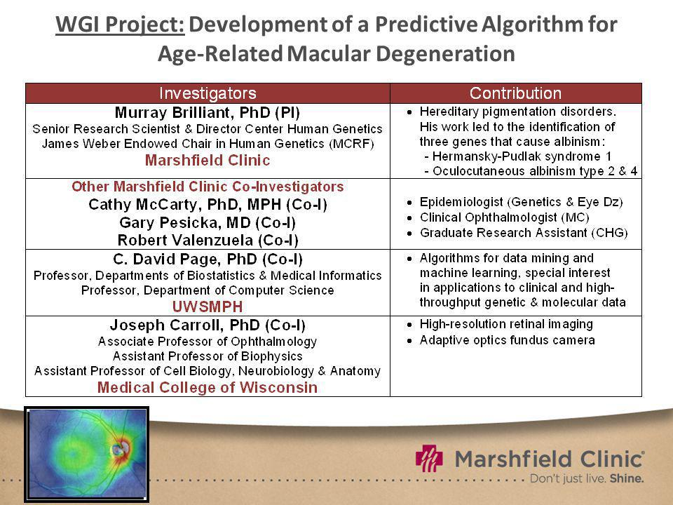 WGI Project: Development of a Predictive Algorithm for Age-Related Macular Degeneration