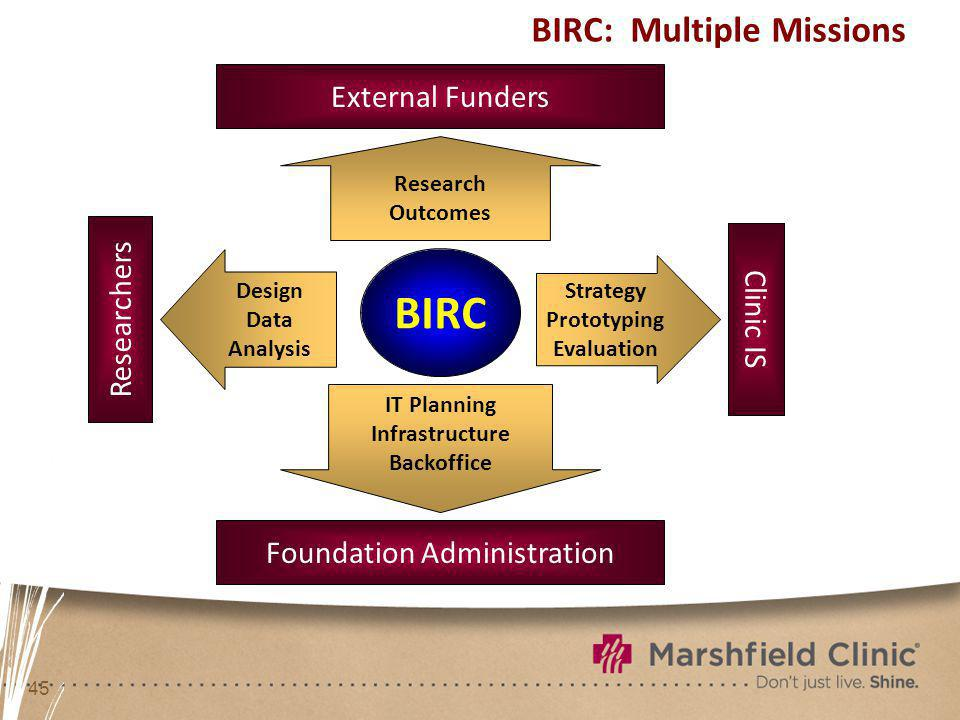 45 BIRC: Multiple Missions BIRC Researchers Foundation Administration Clinic IS Design Data Analysis Strategy Prototyping Evaluation IT Planning Infrastructure Backoffice External Funders Research Outcomes
