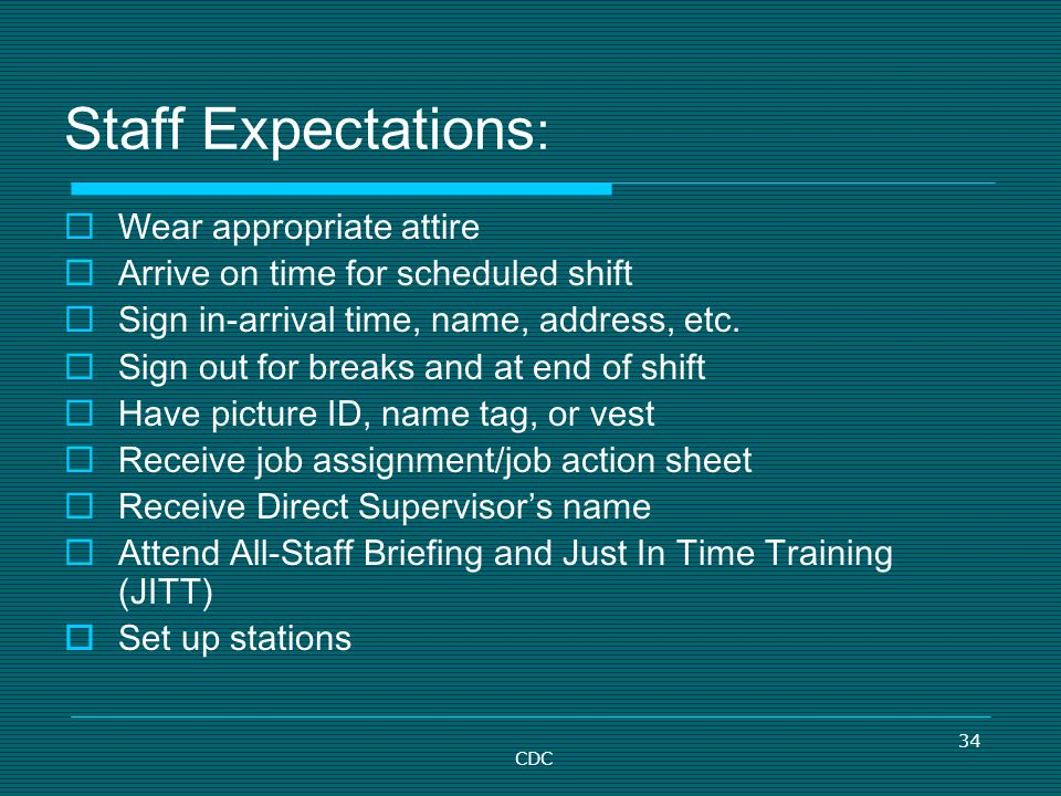 34 Staff Expectations : Wear appropriate attire Arrive on time for scheduled shift Sign in-arrival time, name, address, etc. Sign out for breaks and a