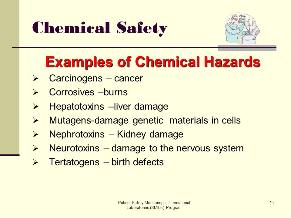 Patient Safety Monitoring in International Laboratories (SMILE) Program 15 Chemical Safety Examples of Chemical Hazards Carcinogens – cancer Corrosive