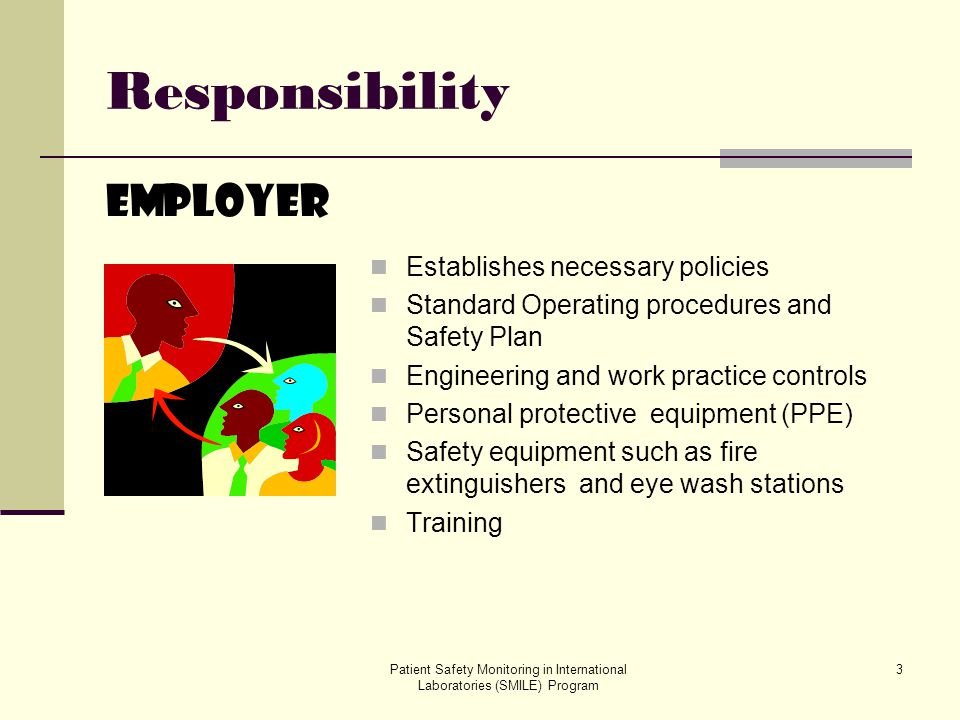Patient Safety Monitoring in International Laboratories (SMILE) Program 4 Responsibility Employee Knows and understands safety policies and procedures Follows safety policies and procedures Reports unsafe conditions to the Safety Officer or Laboratory Director