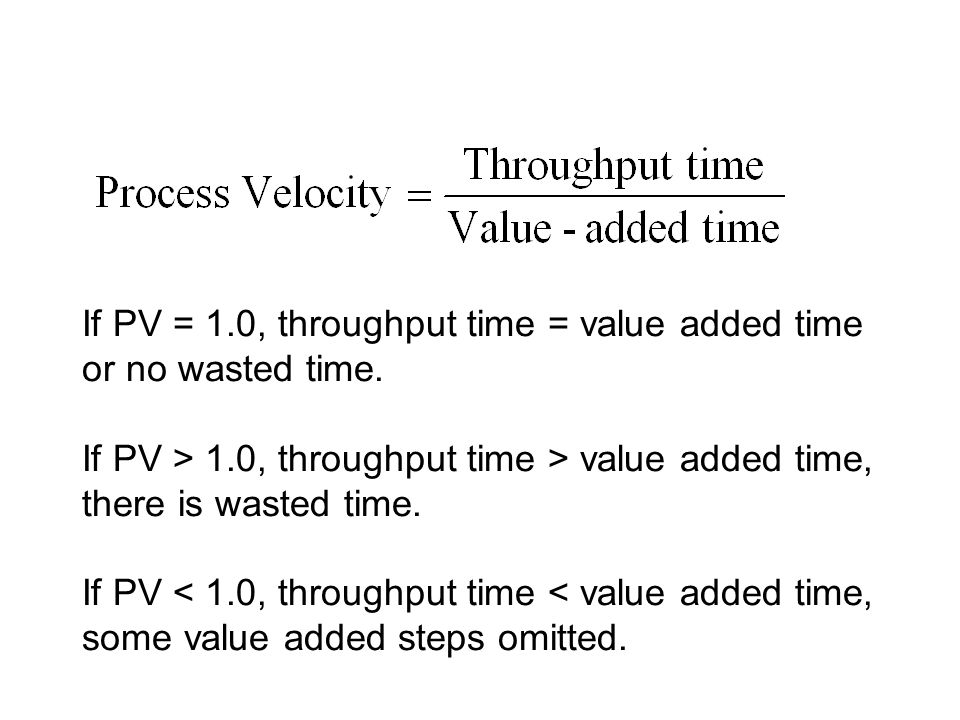 If PV = 1.0, throughput time = value added time or no wasted time. If PV > 1.0, throughput time > value added time, there is wasted time. If PV < 1.0,
