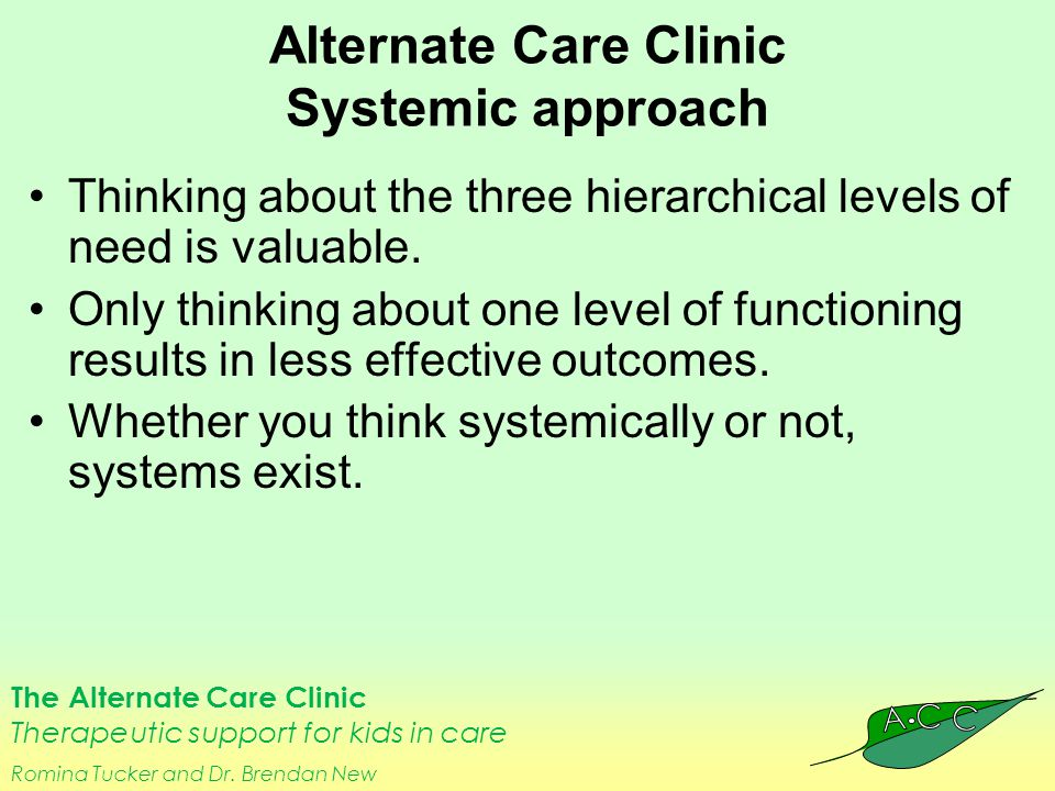 The Alternate Care Clinic Therapeutic support for kids in care Romina Tucker and Dr. Brendan New Alternate Care Clinic Systemic approach Thinking abou