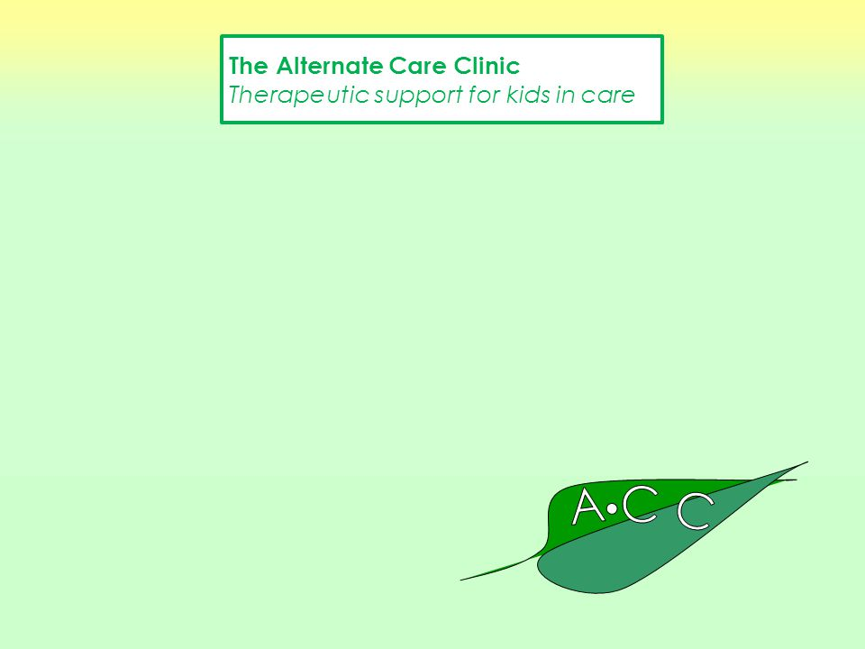 The Alternate Care Clinic Therapeutic support for kids in care Romina Tucker and Dr. Brendan New The Alternate Care Clinic Therapeutic support for kid
