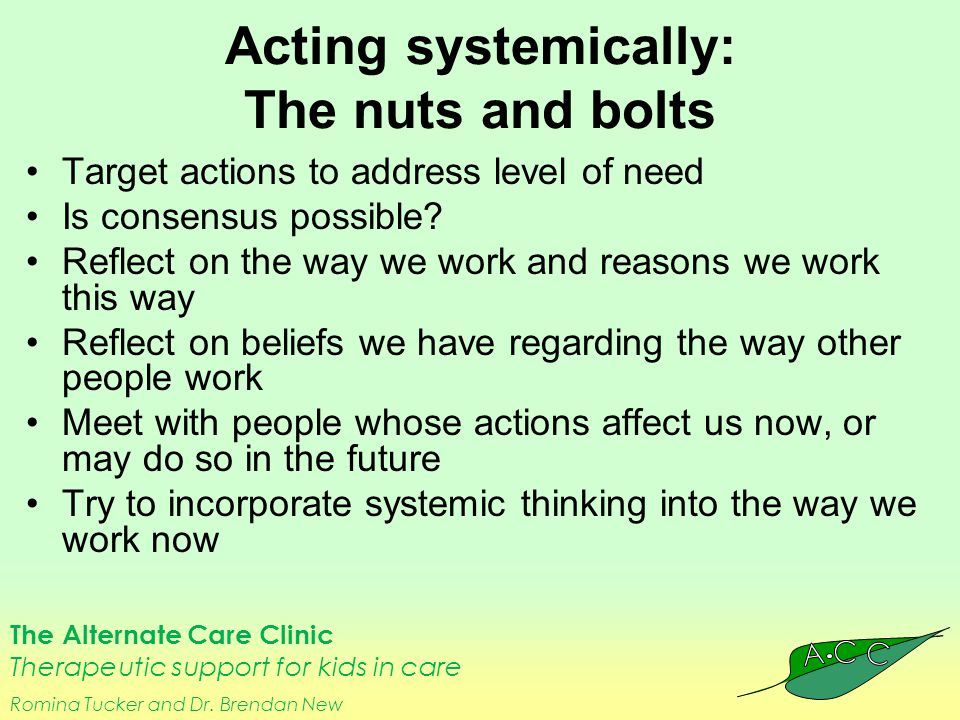 The Alternate Care Clinic Therapeutic support for kids in care Romina Tucker and Dr. Brendan New Acting systemically: The nuts and bolts Target action