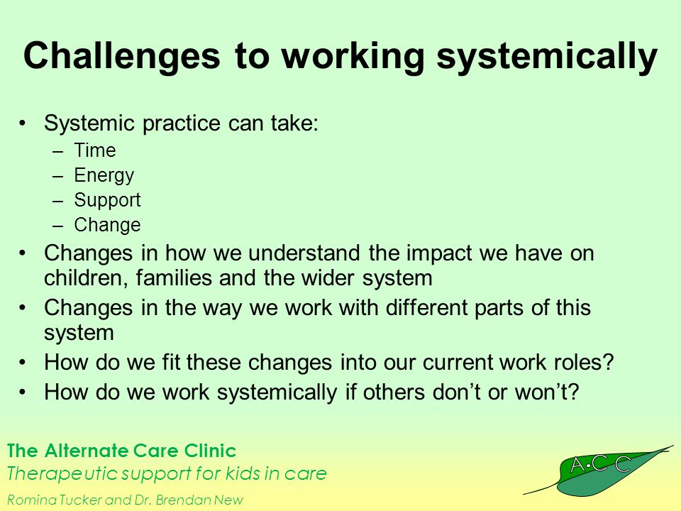 The Alternate Care Clinic Therapeutic support for kids in care Romina Tucker and Dr. Brendan New Challenges to working systemically Systemic practice