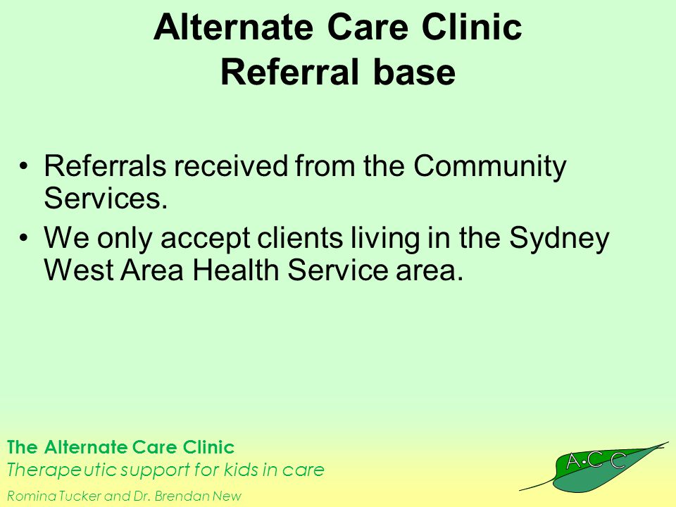The Alternate Care Clinic Therapeutic support for kids in care Romina Tucker and Dr.