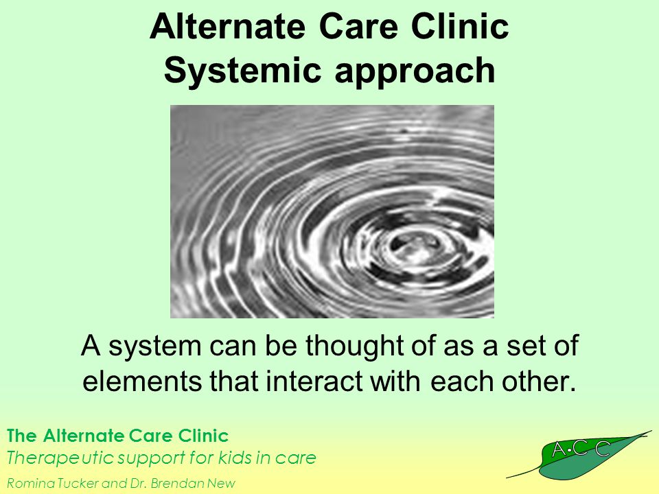 The Alternate Care Clinic Therapeutic support for kids in care Romina Tucker and Dr. Brendan New Alternate Care Clinic Systemic approach A system can